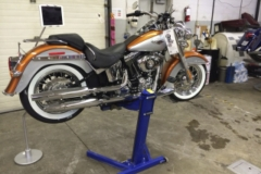 Harley Davidson repairs on Big Blue lift